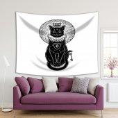 Gizli Anahtar Kedi Desenli Siyah Beyaz Duvar Örtüsü