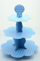 Mavi Beyaz Renkli Puantiyeli Cupcake Kek Standı 3 Katlı