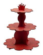 Kırmızı Renk Ahşap Cupcake Standı 3 Katlı