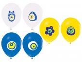 Renkli Karışık Nazar Boncuğu Baskılı Balon 12 İnç 100 Adet