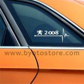 Peugeot 2008 için Kalp Atışı Ritim Oto Sticker (2 Adet)