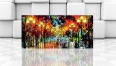 Chic Life Işıklı Yol Manzara Kanvas Tablo 60x135cm