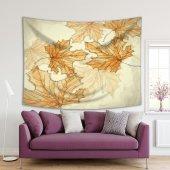 El Sonbahar Yaprak Desenli Kahverengi Duvar Örtüsü