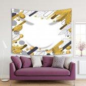 Altın Sonbahar Yapraklı Geometrik Desenli Duvar Örtüsü