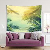 Palmiye Ağaçları Mavi Gökyüzü Desenli Duvar Örtüsü