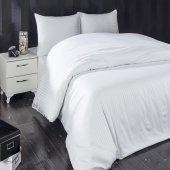 Komfort Home Çift Kişilik Çizgili Pamuk Saten Çarşaf (Beyaz)