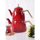 PaçiHome Elit Emaye Çaydanlık Takımı Kırmızı 200463