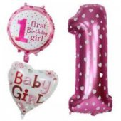 Pembe Renkte Baby Girl 1 Yaş Desenli Folyo Balon Set 5li