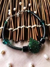 Dr Stone Luxury collection Kuvars ve Hematit Taşı gümüş zincirli Kadın El Yapımı Bileklik LXDR36