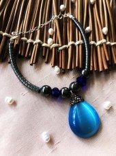 Dr Stone Luxury collection Kedigözü, Kristal ve Hematit Taşı gümüş zincirli Kadın El Yapımı Bileklik LXDR70