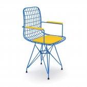 Knsz kafes tel sandalyesi 1 li mazlum mvisrı kolçaklı ofis cafe bahçe mutfak