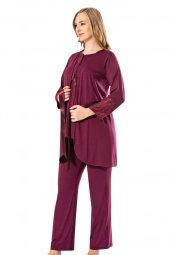 Lohusa Pijama Gecelik Takım Tampap 3755 3 Parça Dantelli Hamile