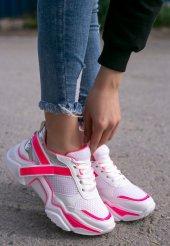 Tenni Beyaz Cilt Pembe Detaylı Spor Ayakkabı