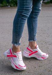 Tenni Beyaz Cilt Pembe Detaylı Spor Ayakkabı-2