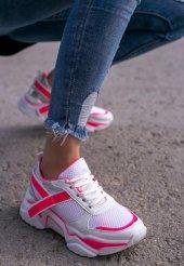 Tenni Beyaz Cilt Pembe Detaylı Spor Ayakkabı-3