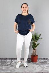 Günay Kadın Bluz Etkm9074-1 O Yaka Taş Cep Düşük Kol Penye-LACİVERT