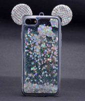 Apple iPhone 6 Kılıf Micky Taşlı Sıvılı Silikon