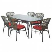 Tmall Home Design Derry Masa 100x180 Cm + 6 Sandalye Bahçe Takımı Gri