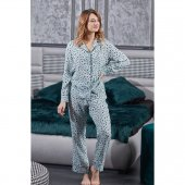 Gömlek Yaka Biyeli Yeşil Leopar Desen Viskon Bayan Pijama M Beden