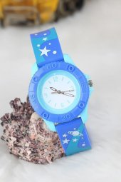 Amay Yıldız Tasarımlı Mavi Renk Silikon Kordonlu Çocuk Saati