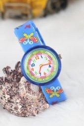 Amay Kelebek Tasarımlı Mavi Silikon Kordonlu Çocuk Saati
