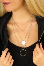 Amay Halkalı Gümüş Renk Çoklu Bayan Metal Zincirli Kolye