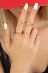 Amay Gold Renkli Trend Metal Pembe Taşlı Bayan Yüzük Seti