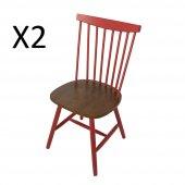 Tmall Home Design Norto Sandalye Kırmızı Ceviz 2 Adet