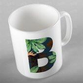 Tropikal Desenli İsme Kişiye Özel B Harfi  Kupa Bardak - ALF003