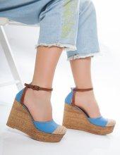 Jolena Bebe Mavisi Hasır Detaylı Sandalet-2