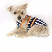 Navy Stripes Orange Atlet Köpek Kıyafeti Köpek Elbisesi