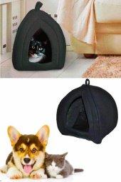 Pet Hut Kedi Köpek Polarlı Peluş Evi Kulübesi Yatağı Minderi (Siyah)