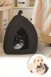Pet Hut Kedi Köpek Polarlı Peluş Evi-Kulübesi-Yatağı-Minderi (Siyah)-3
