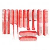 12 Li Comb Plastik Tarak Seti (Kırmızı)