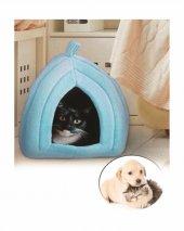 Pet Hut Kedi Köpek Polarlı Peluş Evi Kulübesi Yatağı Minderi (Mavi)