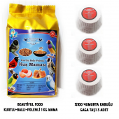 Beautiful Food Kurtlu Kuş Maması 1 Kg + 3 Adet...