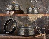 Bayev 7 Prç. Gold Marble Granit Tencere Seti - 200712