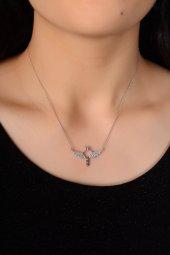 Taşlı Gümüş Uçan Yüzük Kadın Kolyesi Dbsk2296