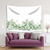 Yeşil Güller Ve Dal Etkili Kelebek Desenli Duvar Örtüsü
