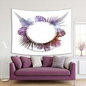 Mor Renk Yuvarlak Ve Palmiye Yaprak Etkili Desenli Duvar Örtüsü
