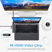 Type-C Dönüştürücü HDMI 4K UHD Adaptör Yüksek Veri Transferi Destekli Dual Girişli-6