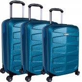 Ehs 5158 Abs 3lü Valiz Seti 8 Tekerlek Valiz Mavi