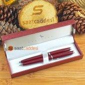 Steel Pen 2 Li Kalem Seti Bordo Babalar Günü Özel
