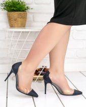 Miya Siyah Cilt Şeffaf Stiletto Ayakkabı-2