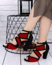Haydy Siyah Süet Kırmızı Detaylı Topuklu...