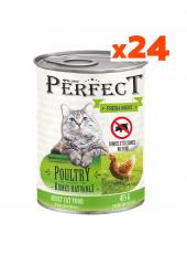 Perfect 24 Adet Konserve Kedi Maması Kümes Hayvanlı Etli (415 Gr) Yetişkin Kediler İçin 24'lü Taze Yeni Üretim Mama