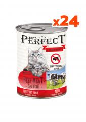 Perfect 24 Adet Konserve Kedi Maması Sığır Etli (415 Gr) Yetişkin Kediler İçin 24'lü Taze Yeni Üretim Mama