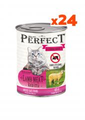 Perfect 24 Adet Konserve Kedi Maması Kuzu Etli (415 Gr) Yetişkin Kediler İçin 24'lü Taze Yeni Üretim Mama