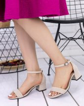 Gabri Krem Süet Tek Bant Topuklu Ayakkabı
