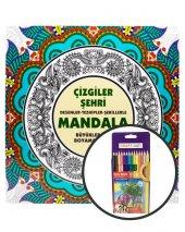 Çizgiler Şehri Mandala +14 Renk Kuru Boya Seti